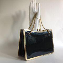 Freedex Black Patent Leather 1970s Vintage Handbag Chain Handles Fabric Lining