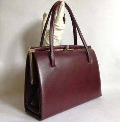1950s Vintage Handbag in Burgundy Oxblood Faux Leather With Black Satin Lining