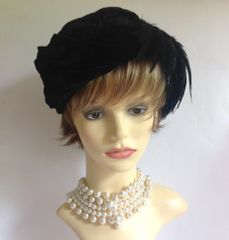 Vintage 1960s Renovated Black Velvet Fully Lined Hat With Side Feather Detail Wedding Church Races