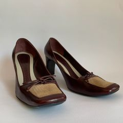 """Marc Jacobs Burgundy All Leather 2.75"""" High Heel Bow Front Court Shoe Size UK 3.5 EU 36.5"""