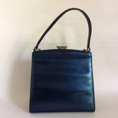 Riviera 1950s Blue Metallic Vintage Handbag With Clean Dark Buff Suede Leather Lining