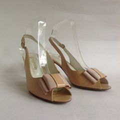 "Russell & Bromley OpenShoe Sandal With Grosgrain Bow Detail In Nude Patent Leather With Peep Toe And Slingback 3"" Heel UK 4.5. EU 37.5"
