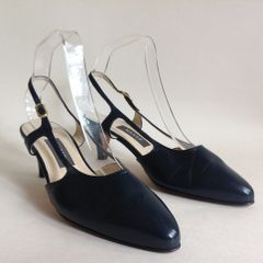 "Bally Vintage 1980s Blue Leather Almond Toe 2.75"" Heel Slingback Shoe UK 5 EU 38"