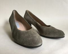 Laura Ashley Moss Green Suede Block Heel Almond Toe Court Shoes UK 7 EU 41