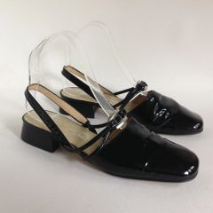 "Ashley Brooke Black Patent Leather Slingback 1"" Block Heel Court Shoes"