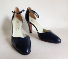 SADDLERS 1970s Vintage Blue All Leather Mary Jane Almond Toe Shoes