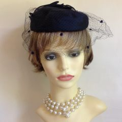 Handmade Vintage 1960s Blue Pillbox Hat With Spotted Over Net Veil Satin Rosette