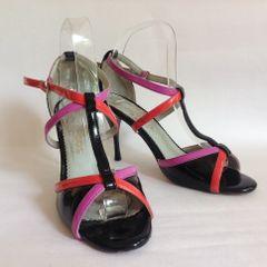 Darcos Magic Shoes Tango Black Purple & Orange Patent Leather Dance Shoes Size UK 5