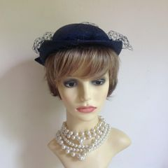 Vintage 1950s Blue Hand Trimmed Straw Calot Pillbox Hat With Net And Large Rear Bow