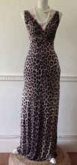 Jane Norman Animal Print Long Sleeveless Deep Plunge Sexy Summer Dress Size 8
