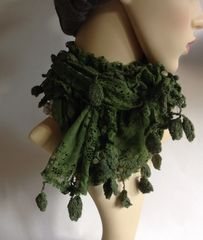 Hand Made Apple Green Vintage Style Lace And Tassel Neck Scarf Cravat Waist Tie