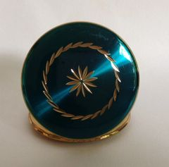 Kigu Vintage 1960s Green Enamelled Gold Tone Powder Compact And Felt Pouch