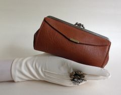 1950s Vintage Coin Purse Wallet Tan Large Faux Leather Double Sided Mad Men