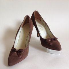 J Hinde & Son Ltd Mid Brown Bow Front Suede Vintage Court Shoes UK 3 US 5.5B