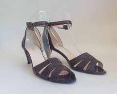 Hobbs Brown Snake Skin High Heel Strappy Open Front Sandal Shoe UK 3.5 EU 36.5