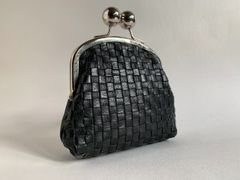 Clarks Black Vintage Inspired Leather Double Sided Coin Purse With Large Kiss Clasp