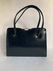 Black Faux Leather 1950s Vintage Handbag With Buff Suede Lining And Elbief Frame