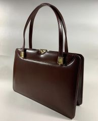 ACKERY Chestnut Brown Leather 1950s Vintage Handbag Buff Suede Lining With Elbief Frame