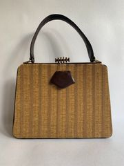 JEDCOBAG 1940s Vintage Handbag Mustard Fabric Front Chestnut Brown Leather And Tan Suede Lining