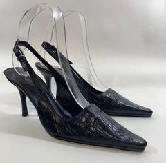 Russell & Bromley Black Moc Croc Embossed Leather Sling Back Shoe UK 3.5 EU 36.5