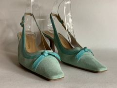 Russell & Bromley Light Blue Suede Leather Slingback Shoes Heel Size UK 4.5 EU 37.5