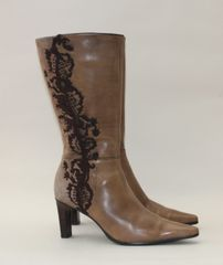 """Clarks Mid Brown Suede and Faux Leather Zip Up 3"""" Slim Heel Calf Length Fabric Lined Boots Size UK 4 EU 37"""
