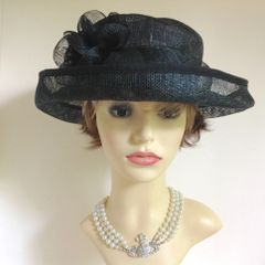 Sinamay Black Dress Hat Weddings Funeral Church Races With Flower Detail