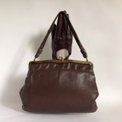 FASSBENDER Soft Mink Brown Leather Rockabilly Vintage Handbag With Metal Frame & Fabric Lining Size 10 x 8 x 2 inches.