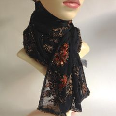 Boots Black Beaded Nylon Evening Party Neck Scarf