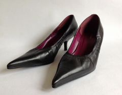 "Bronx Black Leather Pointed Toe Court Shoe With 2.25"" Kitten Heel Size UK 5 EU 38"