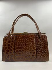 Riviera Whiskey Brown Crocodile 1950s Vintage Handbag Leather Lining & Mirror
