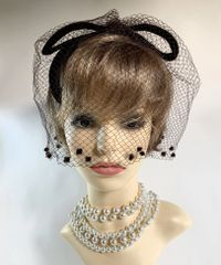 Vintage 1960s Brown Velvet Capulet Bow Shaped Pillbox Hat With Over Net Face Veil