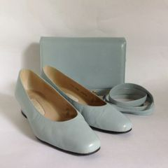 "Vivaldi Vintage 1980s Duck Egg Blue 1"" Heel Court Shoe & Matching Handbag UK 3.5 EU 36.5"
