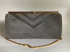 Vintage 1970s Grey Suede Leather Shoulder Bag With Black Fabric Lining And Gold Toned Chain Strap