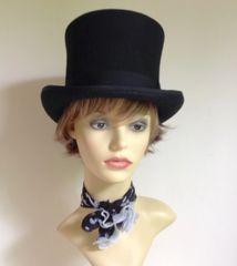 Mens Black Hand Made Top Hat 100% Wool Weddings Formal Races Reenactment Theatre