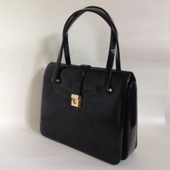 Vintage 1960s Jane Shilton Black Hi Shine Leather Handbag Black Fabric Lining