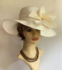 Victoria Ann 100% Silk Ivory Formal Wedding Hat Fully Lined With Bow Detail