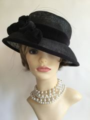 M&S - Marks And Spencer Black Straw Dress Hat With Cotton Velvet Band & Flower Detail Church Funeral