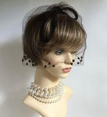 Vintage 1960s Brown Velvet Capulet Bow Shaped Pillbox Hat With Over Net Face Veil