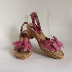 Toni Pons Rose Pink Slingback Wedge Heel Bow Front Sandal Espadrilles Size UK 5 EU 38