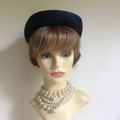 Marida Vintage 1950s Blue Hand Trimmed Straw Calot Pillbox Style Hat With Flower & Curly Bow