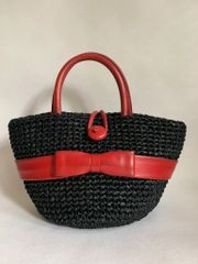 Vintage 1960s Black Rafia Basket With Red Leather Handles And Trim Goodwood