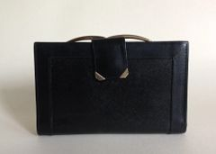 Vintage 1980s Black Textured Leather Coin Purse Wallet Suede & Leather Lining