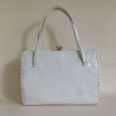 Waldybag 1960s Well Loved White Leather British Made Vintage Handbag Buff leather lining.