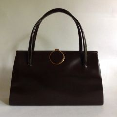 Chamelle Vintage 1960s Handbag Brown Faux Leather Buff Suede Lining Kelly Bag Mad Men Made in England.