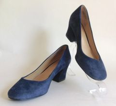 "NINE WEST Nine West 'Spotlight' Blue Suede Leather 2"" Block Heel Round Toe Court Shoe UK 3 EU 36 US 5W"