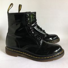 Dr Martens Air Wair Black Patent Leather Lace Up Boots With Bouncing Soles And Cushion Insoles Size UK 7 EU 41