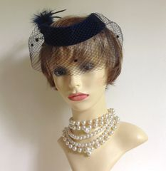 Vintage 1960s Blue Velvet Capulet Open Top Pillbox Hat Over Net Veil And Feather Tuft