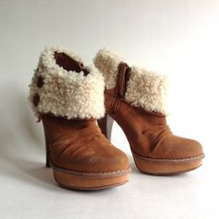 """UGGS Tan Suede Round Toe Platform Lace Up 4.5"""" Heel Ankle Boot UK 4.5 EU 37.5"""
