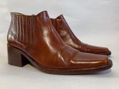 Bertie Tan Leather Chisel Toe 2.25 Inch Block Heel Beatle Ankle Boots UK 5 EU 38